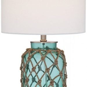 Crosby Blue Glass Bottle Rope Table Lamp