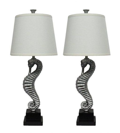 Urbanest Antique Silver Seahorse Table Lamps (2)