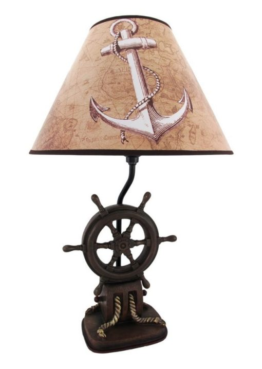 Captains Shipwheel Anchor Nautical Lamp