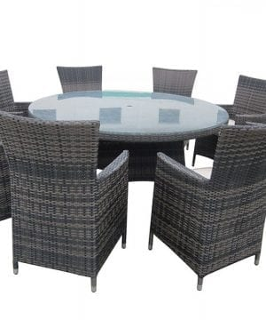Round 9PC Outdoor Wicker Dining Set