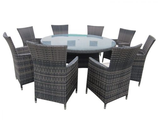 Round 9PC Outdoor Wicker Dining Set