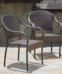Set of 2 Outdoor Stackable Wicker Chairs