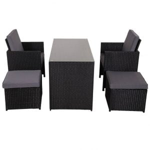 Sundale Outdoor Black Wicker Dining Set