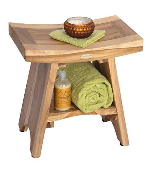 EarthyTeak Asian Style Teak Shower Bench