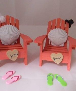 12-Adirondack-Chair-Seashells-Beach-Wedding-Cake-Topper-300x360 50+ Beach Wedding Cake Toppers and Nautical Cake Toppers For 2020