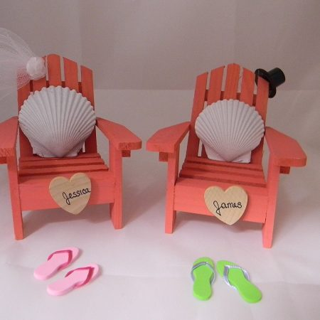 Adirondack Chair Seashells Beach Wedding Cake Topper