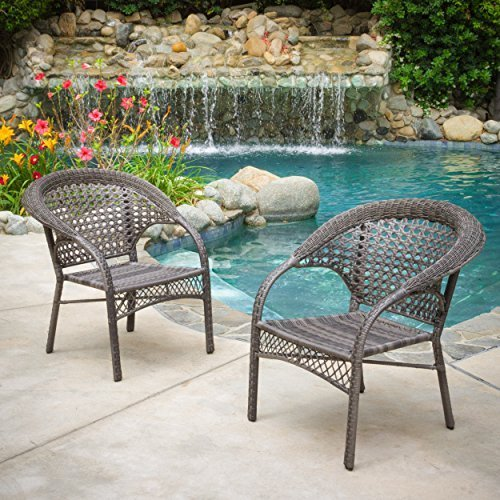 malibu grey wicker dining chairs set of 2