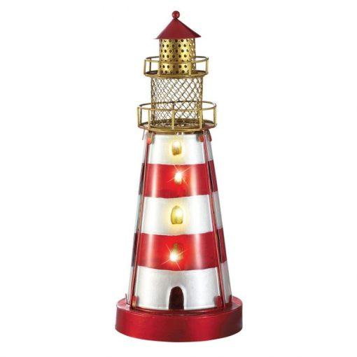 Glass Iron Coastal Nautical Lighthouse Lamp