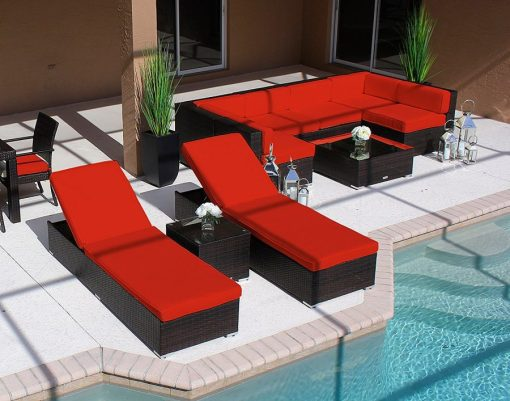 Modern 19PC Outdoor Red Wicker Furniture Set