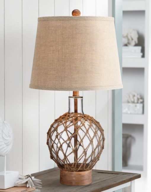 Rope Around Clear Glass Ball Table Lamp