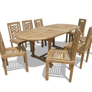 Windsor Premium Grade-A Teak Oval Dining Set