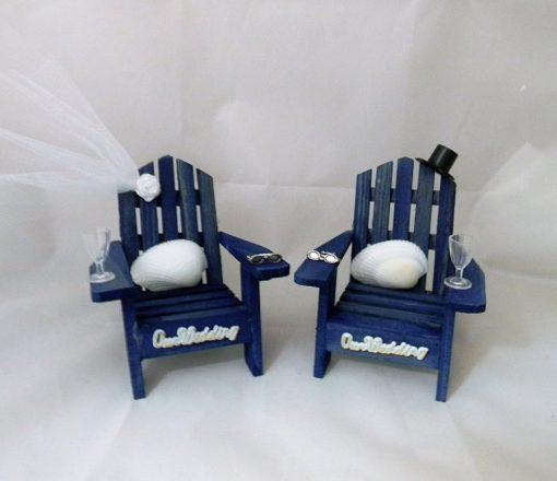 Blue Adirondack Chairs Seashells Cake Topper