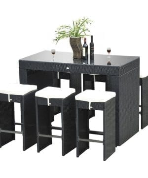 14-outsunny-7pc-black-wicker-barstool-dining-table-300x360 100+ Black Wicker Patio Furniture Sets For 2020