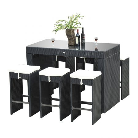 14-outsunny-7pc-black-wicker-barstool-dining-table-450x450 Wicker Patio Dining Sets