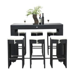 Outsunny 7PC Black Wicker Barstool Dining Table