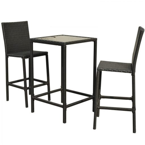 High Top 3PC Outdoor Wicker Dining Set
