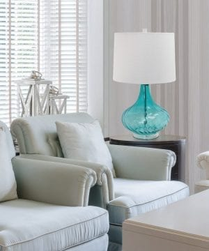 Elegant Designs Blue Glass Coastal Table Lamp