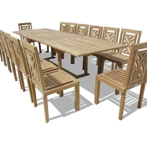 Windsor 15-PC Genuine Grade-A Teak Dining Set