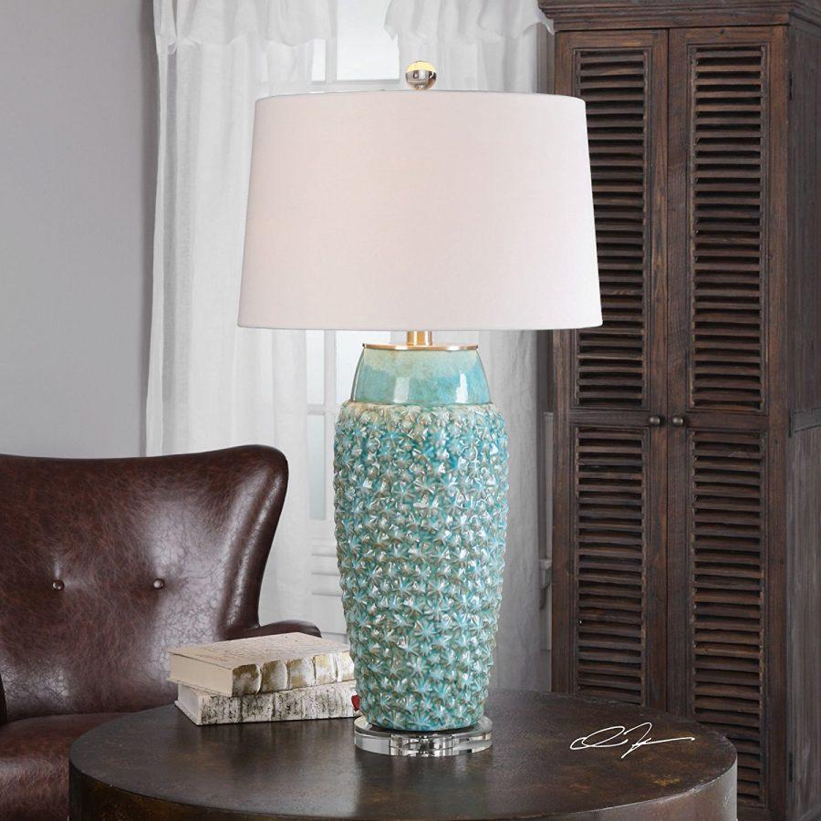Textured Turquoise Embossed Coastal Table Lamp