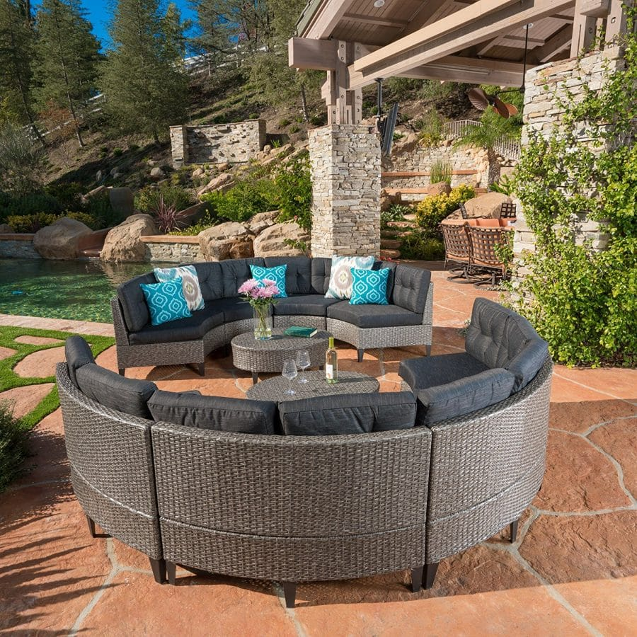 Currituck Outdoor Rounded Wicker Sectional Sofa