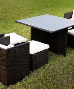 Merax 9PC Black Wicker Dining Set