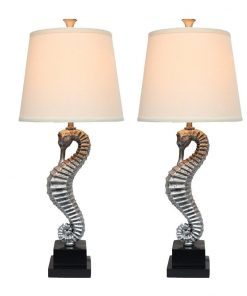 Urbanest Antique Silver Seahorse Table Lamps (2)
