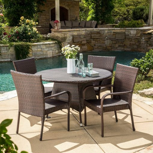 Kory Outdoor 5PC Round Wicker Dining Set