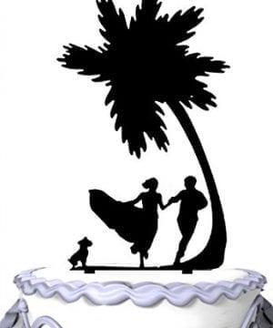 2-meijiafei-bride-groom-dog-palm-tree-cake-topper-300x360 The Best Palm Tree Wedding Cake Toppers