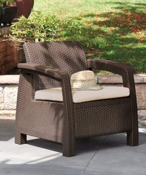 Keter Corfu 4PC Wicker Brown Chair
