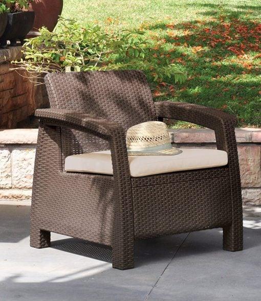 Keter Corfu 4PC Wicker Brown Chair