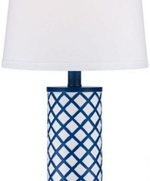 3-gisele-blue-lattice-column-table-lamp-300x360 200+ Coastal Themed Lamps