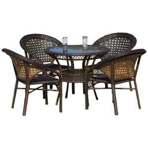 Round 5PC Avondale Wicker Dining Set