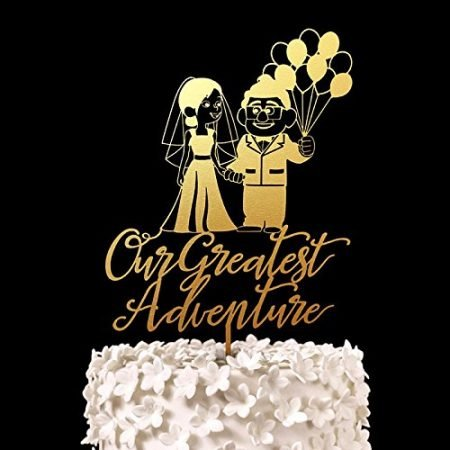 Gold Our Greatest Adventure Wedding Cake Topper