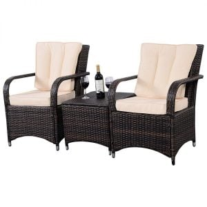 Tangkula 3PC Patio Wicker Conversation Set