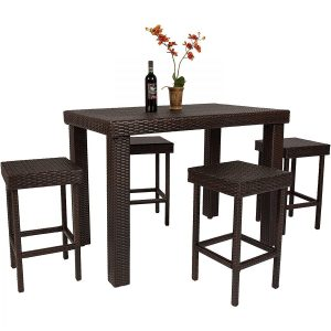 High Top 5PC Barstool Wicker Dining Set