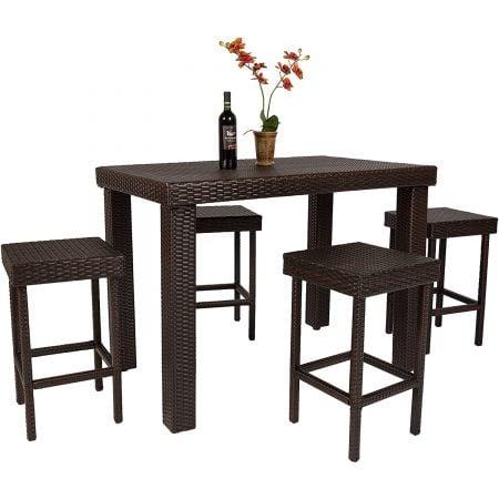 High Top 5PC Barstool Wicker Dining Set
