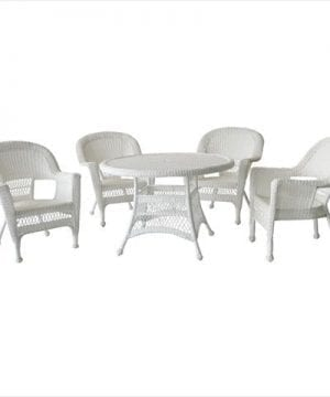 Jeco 5PC White Wicker Dining Set