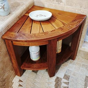 "Welland 2 Tier 15.5"" Teak Corner Shower Bench"