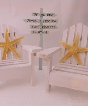 6-adirondack-chairs-starfish-beach-wedding-cake-topper-300x360 50+ Beach Wedding Cake Toppers and Nautical Cake Toppers For 2020