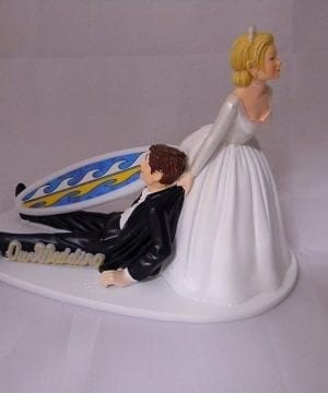 7-Surfing-Groom-And-Bride-Tropical-Wedding-Cake-Topper-300x360 50+ Beach Wedding Cake Toppers and Nautical Cake Toppers For 2020