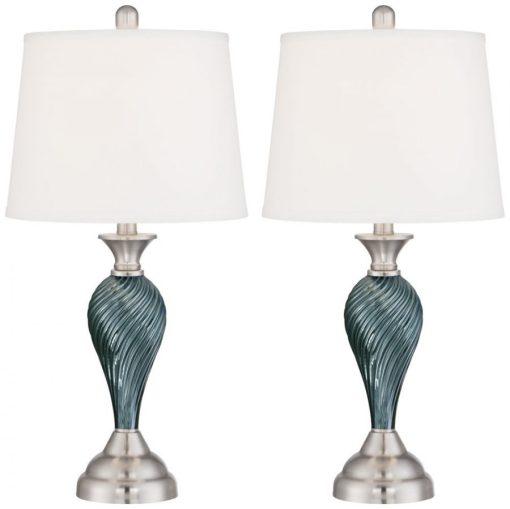 Arden Dark Blue Green Twist Column Table Lamp