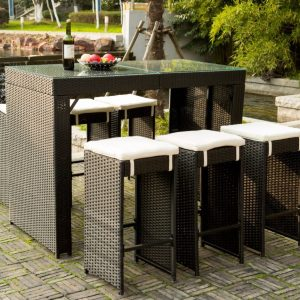 7-merax-high-top-barstool-wicker-dining-set-300x300 Wicker Dining Tables & Wicker Patio Dining Sets