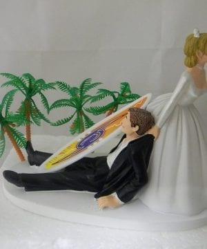Surfing Tropical Beach Wedding Cake Topper