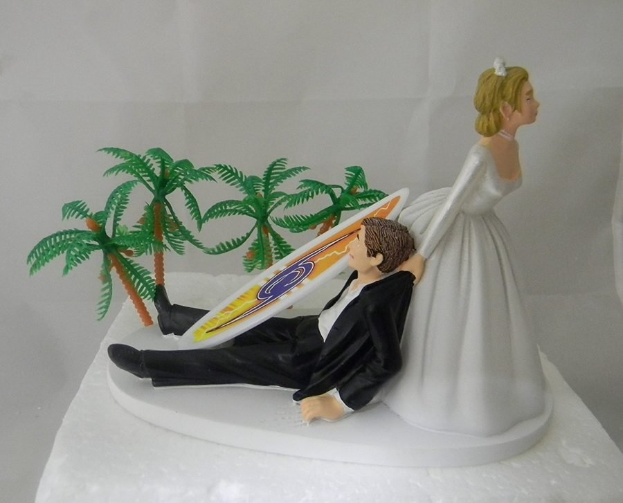 tropical wedding cake toppers surfing tropical wedding cake topper 21280