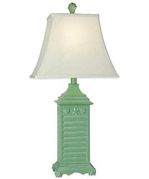 Coastal Green Shutter Seashell Table Lamp