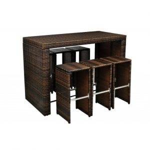 Garden High Top Barstool Wicker Dining Set