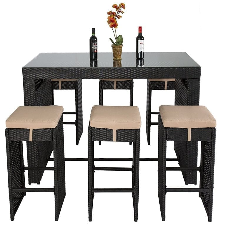Best Choice Products Wicker Barstool Dining Set