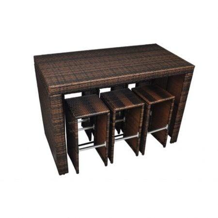 8b-poly-rattan-garden-hightop-barstool-wicker-dining-set-450x450 Wicker Patio Dining Sets
