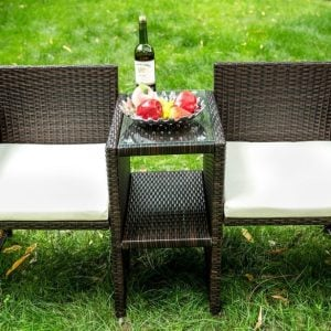 Merax Outdoor Patio Wicker Chair Set