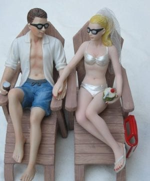9-beach-lounge-chairs-wedding-cake-topper-300x360 50+ Beach Wedding Cake Toppers and Nautical Cake Toppers For 2020